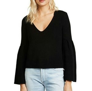 Free People Black Chunky Knit Bell Sleeve